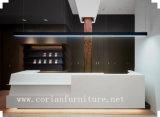 Holz und Corian fester Oberflächenbüro-acrylsauerschreibtisch