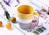 Rojo y blanco de dos tonos de color esmaltado Diseño de cerámica de gres Copa taza
