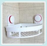 Prateleira de canto do banheiro com a cesta da parede do armazenamento do copo do organizador da cremalheira do chuveiro da sução