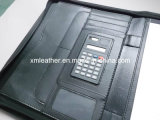 Ufficio Stationery Plaid Leather Embossed Padfolios con Calculator