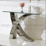 Tabella pranzante di vetro superiore dei nuovi di disegno X piedi di figura da vendere