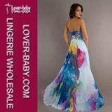 袖なしの印刷されたストラップレスの服L51253