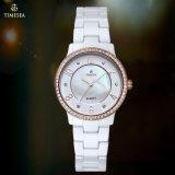 Reloj de señoras de la cerámica del reloj de la cerámica con el reloj analogico de cerámica de acero White71081 de cuarzo