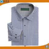 고품질 남자의 고전적인 격자 무늬 예복용 와이셔츠 사업 형식적인 셔츠