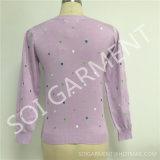 Douce chandail de broderie de cardigan tricoté nouvelle par fille légèrement (SOITSW-65)