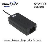 12VDC Tischplattentyp CCTV-Energien-Adapter mit Cer u. IEC60950 (S1230D)