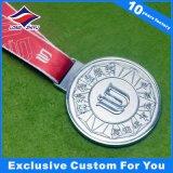 Kundenspezifisches Silber-Bronzemedaille des Gold3d Sports Tagesmedaillen-Metallgoldmedaille mit Stutzen-Farbband