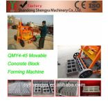 Machine creuse concrète mobile de bloc de ponte d'oeufs de tailles importantes de vibration portative de moulage de la grande capacité Qmy4-45