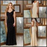 Vestidos de noite pretos Z7043 do laço dos Sequins de Champagne dos vestidos da matriz feita sob encomenda