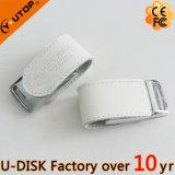 Movimentação feita sob encomenda quente do flash do USB do couro branco do presente da promoção (YT-5116)