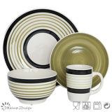 Jeu de dîner en céramique peint à la main de cercle de couleur