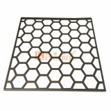 Hoja de aluminio perforada con agujeros hexagonales regulares para decoración de la pared