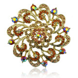 Brooch bonito da liga do zinco do chapeamento de ouro da flor do Rhinestone colorido