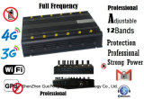 Frequenza ultraelevata Interphone Signal Jammer 3G 4G GSM CDMA Cell Phone Signal Jammer /Blocker Full Frequency Adjustable12 Antennas di VHF di Jammer GPS WiFi del segnale
