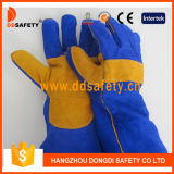 Ddsafety 2017 Blau-Kuh-aufgeteilte Schweißer-Handschuhe mit dem Gelb verstärkt