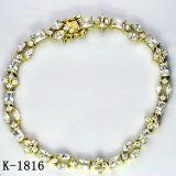 새로운 디자인 다이아몬드 보석 14k 금에 의하여 도금되는 팔찌