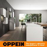 Moderne hölzerne Küche-Möbel-weiße Lack-Schränke mit Insel (OP16-L21)