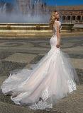 A luva do Short da sereia de 0079 vintages cora vestido de casamento traseiro completo cor-de-rosa de Tulle com laço Ivory