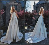 Tafetán de novia de encaje vestido de novia de la boda vestido retro Guerlain Gv20174