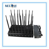 Emittente di disturbo multifunzionale di frequenza ultraelevata di VHF di GPS Bluetooth del telefono mobile dell'antenna di alto potere 16, emittente di disturbo portatile del segnale di frequenza ultraelevata del telefono mobile 3G con i ventilatori
