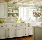 高品質の標準白いシェーカーのドアの純木の食器棚
