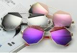 Óculos de sol elegantes por atacado de varejo do polígono do metal de Len do espelho