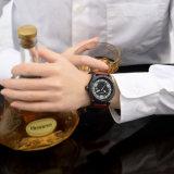 サイズ48mm、めっきされる金属の箱の革バンドSsのバックルIPの黒の6869のメンズ腕時計