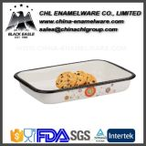 Round Customized Logo Porcelain Decorativo esmalte Steel Tray