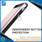 Caisse colorée de téléphone cellulaire de slots pour carte de pochette de TPU+PC pour l'iPhone 7 d'Apple