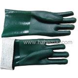 PVC vert entièrement plongé fonctionnant les gants chimiques de sûreté de main