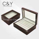 Caja de joyería de madera del anillo de la alta calidad de la ventana clara para el embalaje