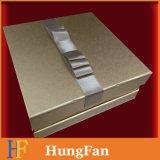 Rectángulo de empaquetado con bisagras del regalo rígido de la cartulina con la cinta