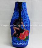 Neopren-Bierflasche-Kühlvorrichtung mit dem Reißverschluss geschlossen