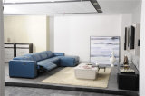 青いカラー長椅子の調節可能なヘッドレストの家具