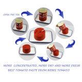 Venta al por mayor 70 G a 4.5 kilogramos de goma de tomate conservada concentrada doble con color rojo