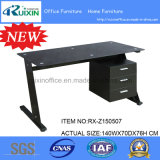 Z contemporáneo Shaped 3 Drawers Home Office Computer Desk Black o White con Glass Top