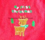 Het naar maat gemaakte Embleem Geborduurde Katoen Terry Baby Bibs Infant Bibs van de Viering van het Festival van Kerstmis Promotie Aangepaste