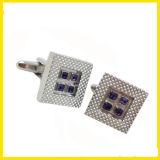 Gemello classico del quadrato placcato argento della pietra blu