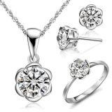 18k 화이트 골드 다이아몬드 보석은 925 은 보석을 놓았다