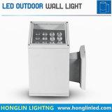 acima de e para baixo da jarda luz principal 9X1wx2 18W da parede do diodo emissor de luz dois de alumínio do quadrado do hotel do edifício