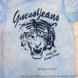 T-shirt azul do menino com a cópia do tigre na roupa de lavagem Sq-6319 da tintura do laço dos miúdos