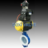 Operated pneumatico PFA Lined Butterfly Valve per Chemical Solution