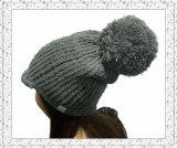 Chapeau tricoté épais chaud de Beanie de l'hiver avec de l'ouatine polaire (1-3496)