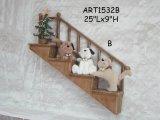 """famille de crabot de H 25 """" Lx8 """" sur la décoration en bois de Laders-Noël"""