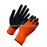 こんにちは気力のオレンジ手袋の泡乳液の塗られた安全作業手袋