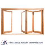 Ventana plegable del BI en el perfil de aluminio con color de madera
