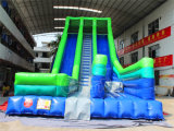 Corrediça inflável gigante das pistas de Channal dois para adultos e miúdos
