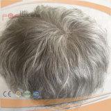 Cheveux pleins de dentelle Cheveux gris perle Toupee Mens