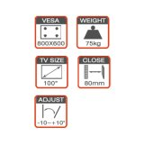 Slim Standard TV Wall Mount Fit para 42-100 ''