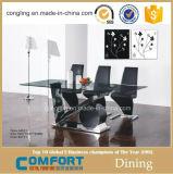 Moderner Glasniedriger Stahlspeisetisch mit Stühlen